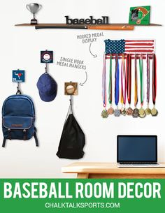 Medal hook boards, sport wall hooks, wood words, picture frames, and more! We've got it all for the baseball player in your life who wants to personalize their room with things representing the sports they love. Only at ChalktalkSports!