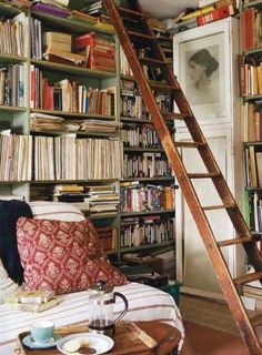 Books, videos, records, magazines, sheet music, tea/coffee... My house already has some of this going on.  I just need some of that floor to ceiling action, and a good ladder.  Nice pillow, too.