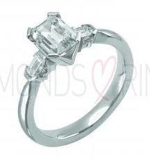Three Stone Emerald Cut Diamond Ring Vintage Style 2