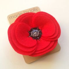 Felt Flower Corsage in Red or Grey  Retro Ripple by madebylolly, £15.99