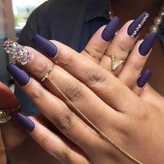 Matte Navy Blue + Bling Long Coffin Nails #nail #nailart