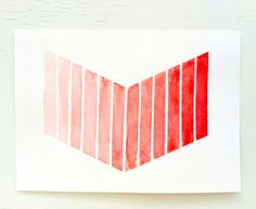 Orange Red Ombre Chevron Painting / Original Tribal Watercolor / Coral / FREE SHIPPING