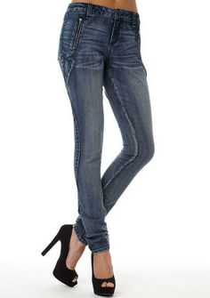 STRETCH low rise skinny jean with zip pocket detailing and back patch pockets.