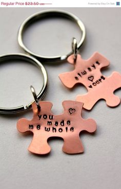 SALE Puzzle Piece Keychain, Personalized Valentines Day Gift For Boyfriend And Girlfriend, Puzzle Piece Couple,  Anniversary , Valentines F