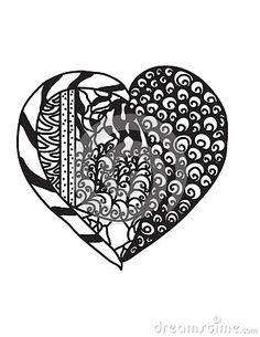 Heart drawn in style zentangle , unique and artistic hand drawn , ilustration , represent love