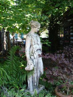 Goddess statue in garden