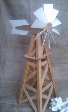"Homemade model windmill, 25"" tall"