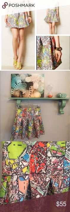 """Maeve carte neoprene skirt So lovely flare skirt by Maeve with a really fun Paris map print. Back exposed zipper and pleats!! Super comfy. Waist 14"""". Length 18"""". Like new Anthropologie Skirts"""