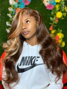 Brown Highlight Blonde Lace Front Human Hair Wig - doseofcarlos [doseofcarlos] - hair color: same as the picture hair length: Designed by hairstylist Long Hair Wigs, Human Hair Wigs, Black Girls Hairstyles, Wig Hairstyles, Hairstyle Ideas, Blonde Weave Hairstyles, Party Hairstyle, Bangs Hairstyle, Style Hairstyle