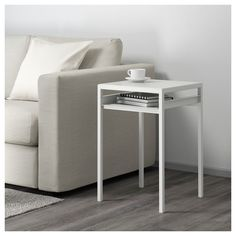 IKEA - NYBODA, Side table w reversible table top, white/grey, You can choose the table top colour you want since it's reversible and has a white and a grey side. The table is easy to move where you like, since it's both light and stable. At Home Furniture Store, Modern Home Furniture, Affordable Furniture, Furniture Styles, Ikea Side Table, Metal Side Table, Table Desk, Gladom Ikea, Desktop Metal