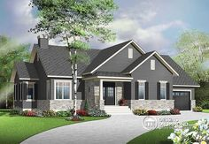 Looking to build an affordable bungalow with master suite, home office, open floor plan layout and garage? This new bungalow plan is for you! Style At Home, Country Style House Plans, Modern Country Houses, Modern Rustic, The Plan, How To Plan, Bungalow House Plans, Craftsman Style House Plans, Craftsman Ranch