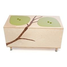 Mod Mom Furniture - Owyn Toy Box - The Owyn Toy Box has an organic mod style that fits beautifully in any room of the house. It has two easy lift-off lids that fit the top like a puzzle so it's fun and easy for little hands to manipulate! This unique toy box is made up of two convenient compartments under individual leaf lids. Features: -Eco - friendly Baltic birch ply. -Non-toxic paints. -Branch is real wood veneer appliqu�. -Leaf lids lift easily to reveal two roomy storage compartments…