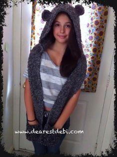 Snow Bear Scoodie *Free* Crochet Pattern by DearestDebi.I need to learn how to crochet Crochet Gratis, Crochet Amigurumi, All Free Crochet, Knit Or Crochet, Crochet Scarves, Crochet For Kids, Crochet Clothes, Crocheted Scarf, Gilet Crochet