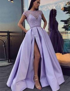 0bdad21a39ec 2019 Jewel Cap Sleeves Lavender Satin Evening Prom Dresses With Beading  Split