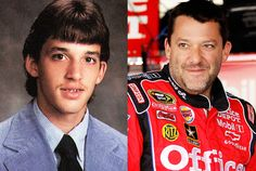 Tony Stewart's high school yearbook photo. Big, intense eyes and questionable hairstyle choices back then, too, but I think he's aged well!