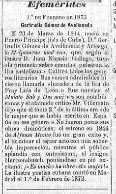 Gertrudis Gómez de Avellaneda  -  Diario de Tenerife : periódico de intereses generales, noticias y anuncios: Año XI Número 3063 - 1897 febrero 1