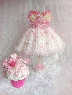Shabby Dress Form and Cupcake