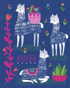 impression l lamas, Happy Alpacas by Sarah Walsh par Tigersheepfriends sur Etsy Alpacas, Art And Illustration, Art Paintings, Original Paintings, Grafik Design, Art Design, Print Patterns, Pattern Art, Pattern Design