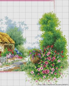 images attach c 3 77 619 Cross Stitch House, Cross Stitch Kits, Cross Stitch Patterns, Cross Stitch Landscape, Butterfly Cross Stitch, Cross Stitch Bookmarks, Types Of Craft, Cottage Design, Cross Stitching