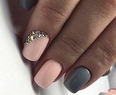 Accurate nails, Beautiful winter nails, Discreet nails, Fashion nails 2017, Glossy nails, Grey gel polish, Nails with rhinestones ideas, New year nails ideas 2017