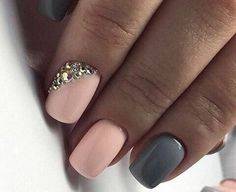 Accurate nails, Beautiful winter nails, Discreet nails, Fashion nails 2017, Glossy nails, Grey gel polish, Nails with rhinestones ideas, New year nails ideas 2017