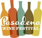 Pasadena Wine Festival logo, bottles, negative space, overlap