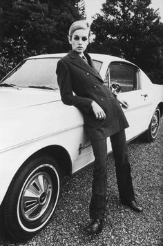 Twiggy and a classic Mustang...cool