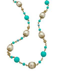 Carolee White Pearl Turquoise Illusion Necklace #maxandchloe
