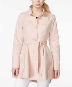 Betsey Johnson Petite Belted Rose-Button Trenchcoat - Coats - Women - Macy's