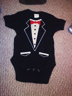 DIY Tuxedo T-Shirt Onesie - tutorial - you'll have the snazziest looking baby boy in town! Not to mention it's always good for a laugh or two!