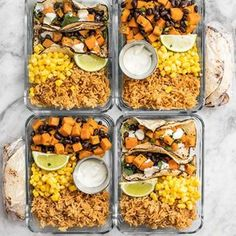 I did meal prep this week! I just ran out of time to post it yesterday, but it's up on the blog now! This week features my Sweet Potato Tacos, Taco Rice, and some leftover corn from my freezer that needed to be used (LOL!). Tap the link in my profile to check out the blog post 👉 @budgetbytes . . #mealprep #mealprepsunday #mealprepideas #mealprepping #lunchideas #lunchinspo #tacotuesday . . https://www.budgetbytes.com/2018/02/sweet-potato-taco-meal-prep/
