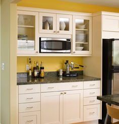 Modern arts & crafts kitchen with painted shaker style cabinets - contemporary - kitchen - san francisco - Mueller Nicholls Cabinets and Construction Yellow Kitchen, Built In Microwave Cabinet, Shaker Kitchen Cabinets, Contemporary Kitchen, Kitchen Cabinet Styles, New Kitchen, Home Kitchens, New Kitchen Cabinets, Rta Kitchen Cabinets