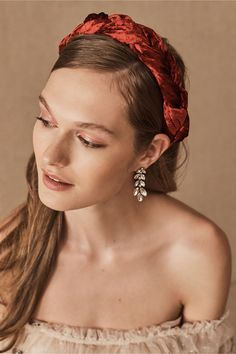 Add a pop of color to your wedding day look with this braided velvet headband, perfect as a headpiece or to wear while getting ready! Red Headband, Headbands, Holiday Party Dresses, Holiday Parties, Bhldn, Cute Hairstyles, Headpiece, Color Pop, Hair Makeup