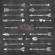 Bianco & nero frecce Clipart. Tribale elementi nativi fai da