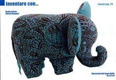 Elefante de tecido com molde - patchwork                              …