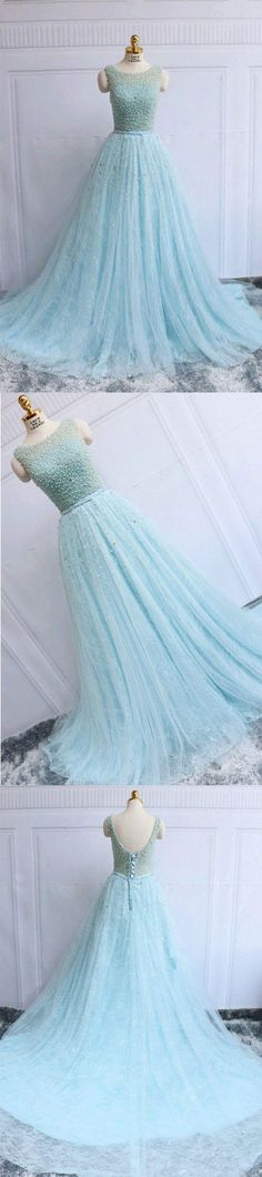 Blue round neck tulle lace long prom dress, blue evening dress, blue formal dress