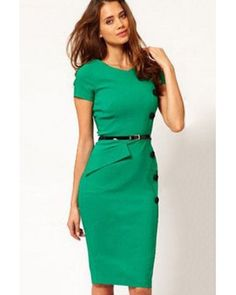 cool New 2014 Fashion New Style Women Sexy Ladies Celeb Inspired Casual Cap Sleeves Button Belt Decoration Green Midi Dress Outfit Vestido Negro, Vestido Calvin Klein, Simple Frocks, Nice Dresses, Dresses For Work, Spring Dresses, Green Midi Dress, Orange Dress, Maxi Robes