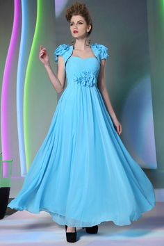 stunning sky blue pleated chiffon long prom dress