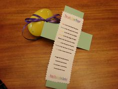 "Needed a Christ-centered Easter project for my son's class party.  Used the ""Jelly Bean Prayer"" I found on the internet, and filled the egg with colored jelly beans that matched the poem.  A simple cut-out cross, with the prayer/poem attached (I let the kids cut out the crosses..I cut out the poem section using some fancy craft scissors) tied with crinkle ribbon to the egg. Easy!"