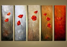 Wieco Art - Modern 100% Hand Painted Canvas painting Art Work for Wall Decor Home Decoration, Stretched and Framed Painting Artwork, Red Petals Flowers- 5 Panels Abstract Floral Oil Paintings on Canvas Wall Art Ready to Hang for Wall Decorations Home Decor Wieco Art http://www.amazon.com/dp/B00G913VDC/ref=cm_sw_r_pi_dp_9qyWvb09B3EPQ