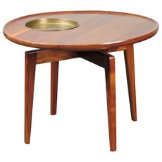 Rare Sculptural Walnut Table with Brass Plant Stand by Jens Risom, Signed   From a unique collection of antique and modern end tables at https://www.1stdibs.com/furniture/tables/end-tables/