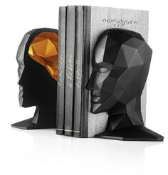 Knowledge in the Brains Bookends by Menu in Black