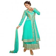 Georgette Border Work Turquoise Semi Stitched Long Anarkali Suit - B70995