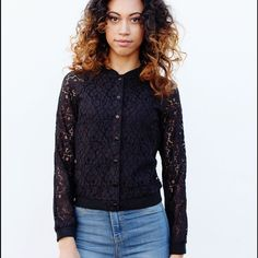 Come Alive Black Lace Jacket Super cute black lace snap up jacket from #cecillee Cecil Lee Sweaters Crew & Scoop Necks