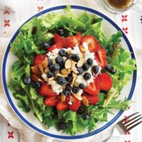 Strawberries, Blueberries and Feta unite to make this American Red, White & Blue Salad.