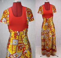 Kitsch 1970 Print Maxi Dress Mustard / by PatternVintageLondon