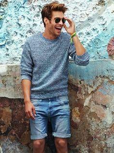 Men's Grey Crew-neck Sweater, Blue Denim Shorts, Black Sunglasses, Green Bracelet