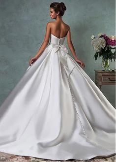 Acheter Fabuleux Satin Encolure bretelles A-ligne de robes de mariée avec bowknot pas cher chez Laurenbridal.com