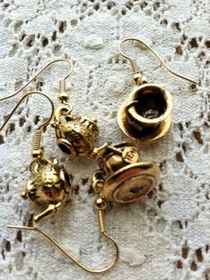 Tea Pot and Cup Earrings by DuctTapeAndDenim on Etsy, $6.00