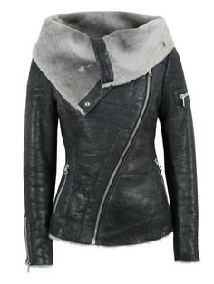 Not really a fan of leather jackets, but I need this one in my life <3 (Arnelle Black Leather Biker Jacket)
